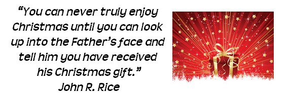 """You can never truly enjoy Christmas until you can look up into the Father's face and tell him you have received his Christmas gift."" ~John R. Rice"