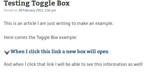 toggle box in wordpress