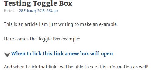 toggle box in wordpress