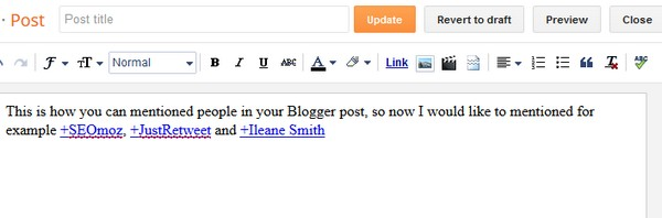 Mention people on Google+ in your Blogger articles