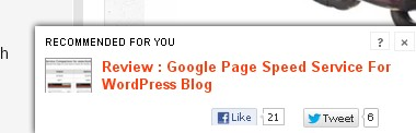 Recommended articles in lower right corner of your blog