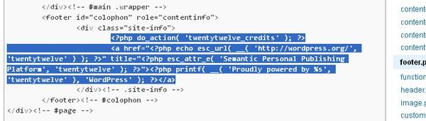 remove credits from twnety eleven wordpress theme