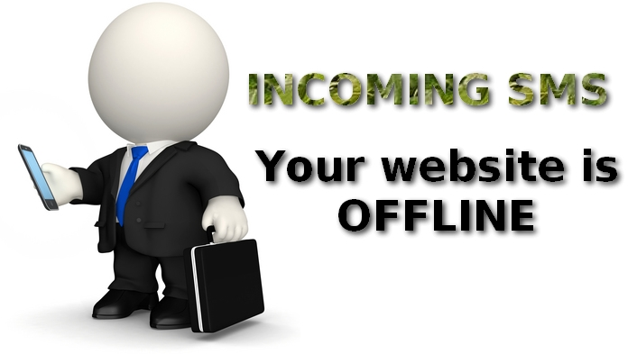SMS warning about offline website
