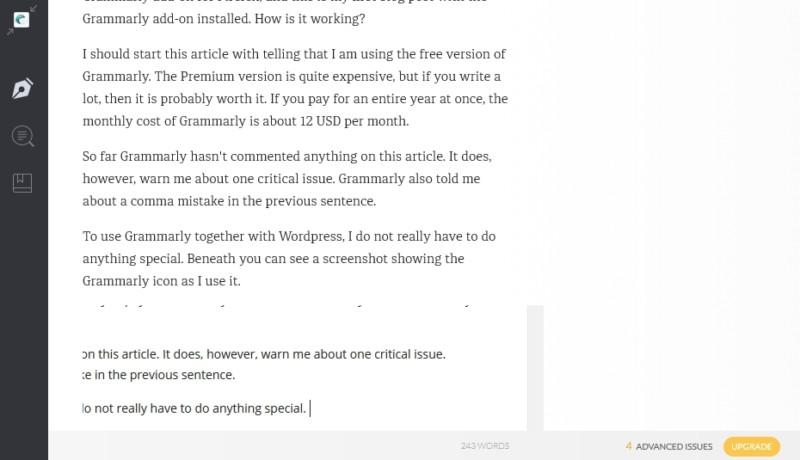 Grammarly editor in WordPress