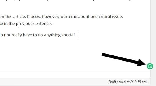 Grammarly icon in WordPress