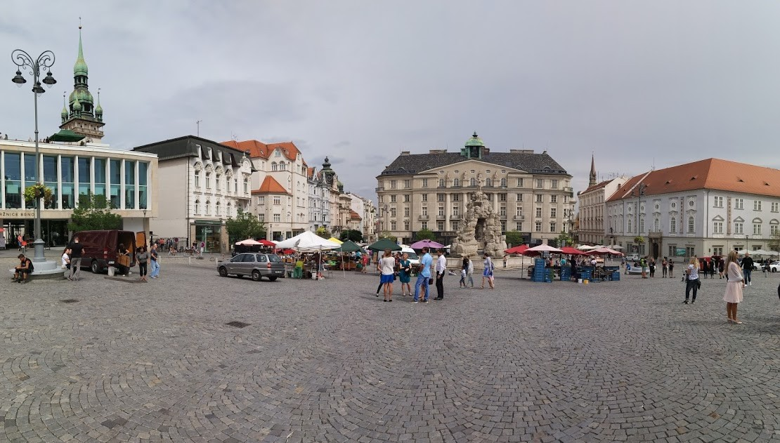 A panorama shot of the Vegetable Market in Brno