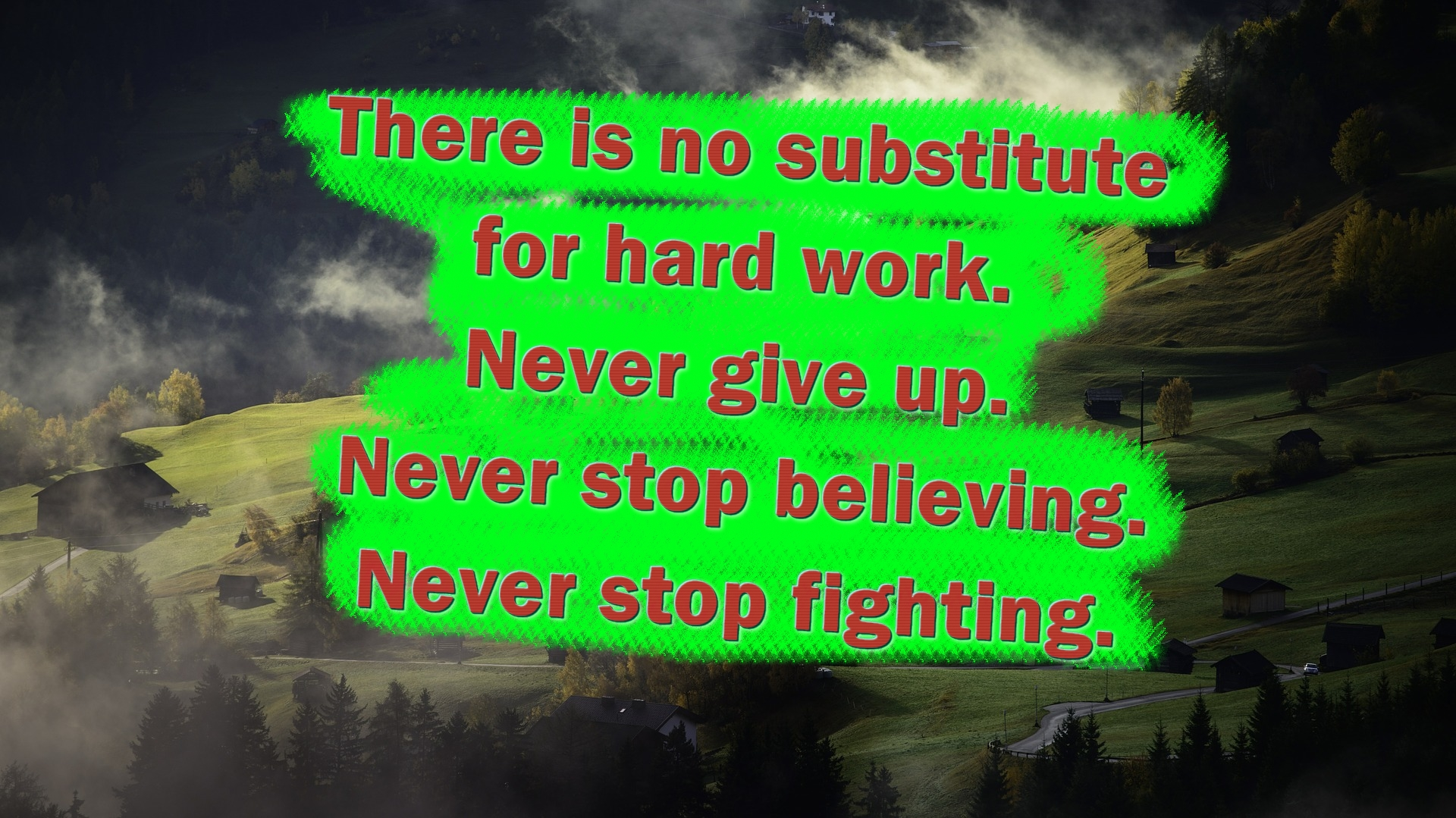 There is no substitute for hard work. Never give up. Never stop believing. Never stop fighting.